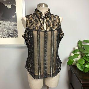 Free People black sheer lace choker blouse Sz L
